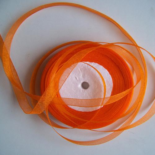 stuha šifonová / 10mm / oranžová /  1m
