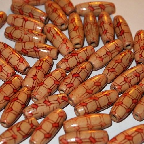Dřevěné korálky - vzorované 23x8 (cena 30ks)