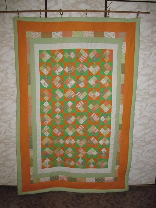 Patchvorkková  deka zelená s oranžovou