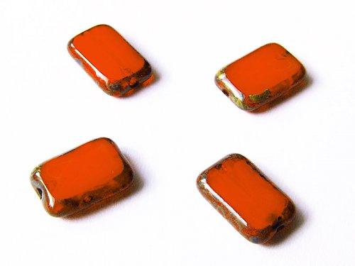Oranžové obdélníčky s travertinem (ploškované)