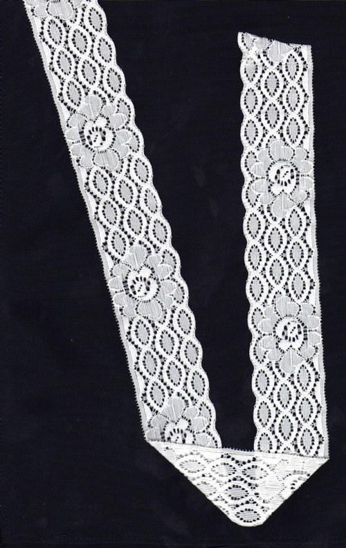 Bílá strečová krajka geometrický vzor s kvítkem