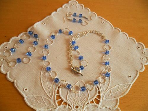 Sada šperků - modré kolečkování