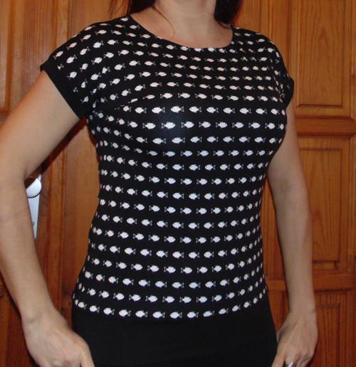 tričko RYBKY NA ČERNÉ-vel L