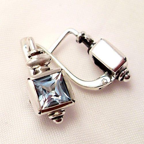 Náušnice «Čtverec» - stříbro 925, modrý topaz