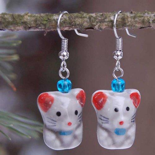 Náušky s keramickými myškami 2