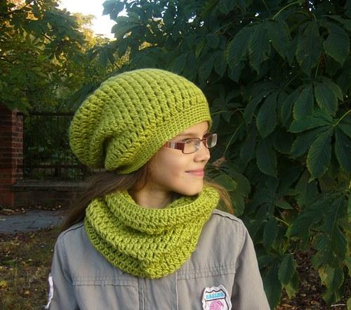 predĺžená čiapka - zelená