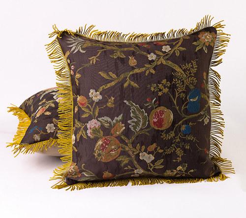 Dekorační polštář, zlaté třásně, 48 x 48 cm