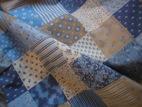 látka - metráž - MODRÝ patchwork