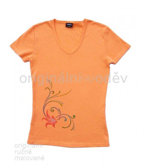 SLEVA: Malované tričko dámské - květina - oranžové