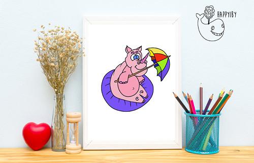 Nosorožec v barvě (bez stínů)