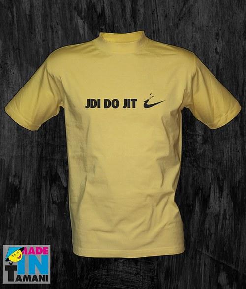 Pánské světle žluté tričko Jdi dojit 02