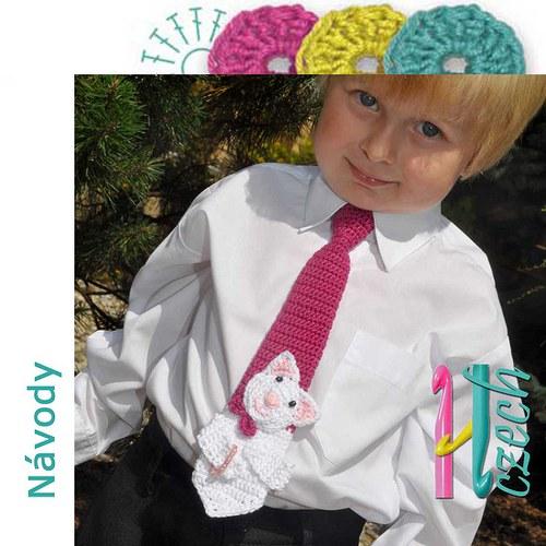 Háčkovaná kravatka kočička
