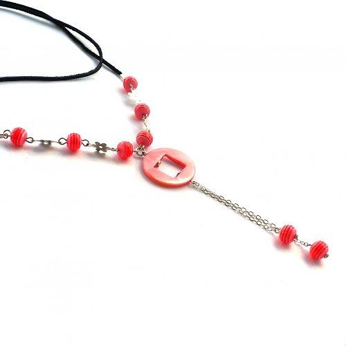 Růžovočervený delší náhrdelník - 20% sleva!!!