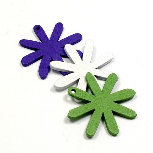 Dřevěný přívěsek - květinka 3 ks, 3 barvy