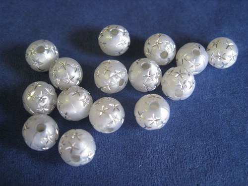 Akryl. korálky - šedé, 8 mm, 10 Ks / 9,--