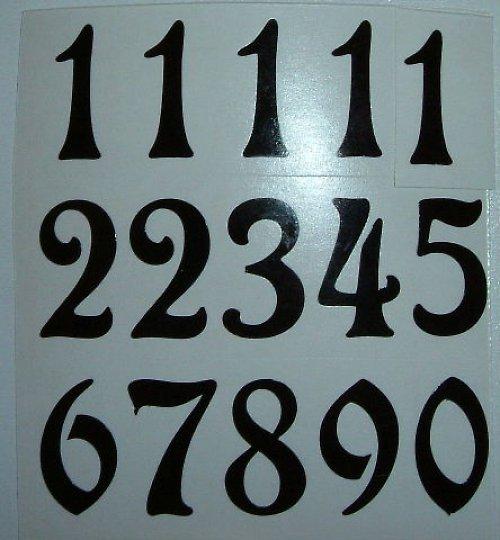 Čísla na hodiny nalepovací černá - ozdobná v.1,4cm