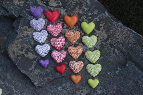 Barevná srdce,dekorace, v sadě 5 kusů