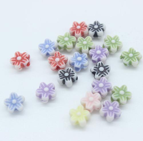 Korálky kytičky 20ks MIX barev