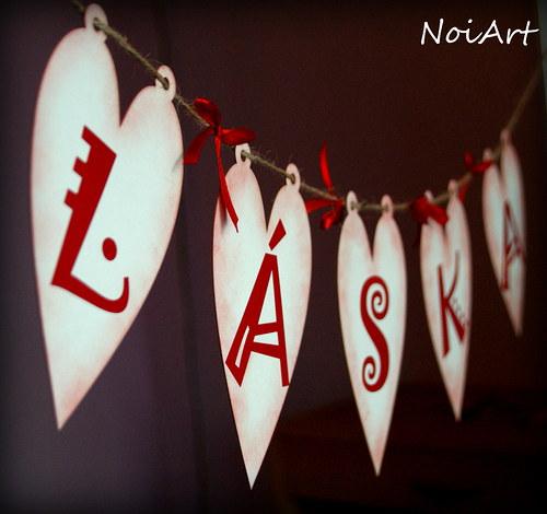 Girlanda LÁSKA red HEART ♥