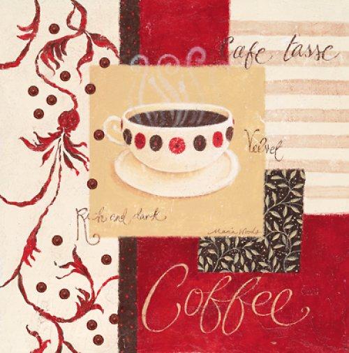 Reprodukce - tisk - červené coffee 15x15cm - 20122