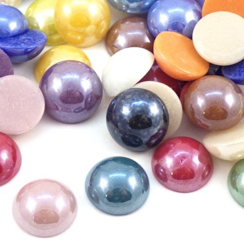 Skleněné kabošony perleťové - 11,5 mm, 10 kusů