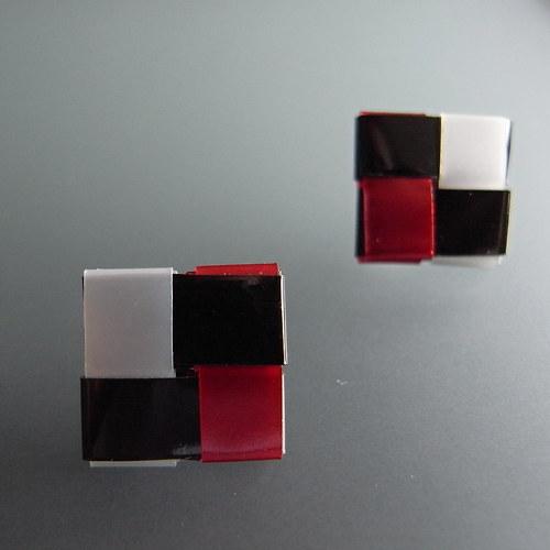 Náušnice Černo-Rud-Perla