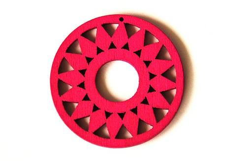 dřevěná kolečka- sytě růžová