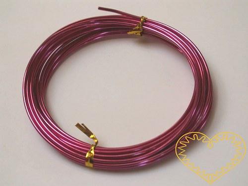 Hliníkový drát růžový - ø 2 mm, délka 5 m