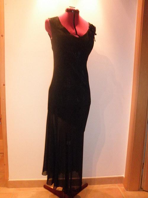 Dlouhé černé společenské šaty 157-vel. 42