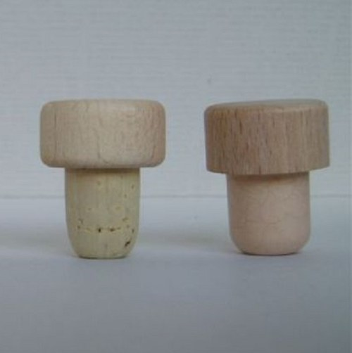 Korková zátka s dřevěnou čepičkou cena za 1 ks