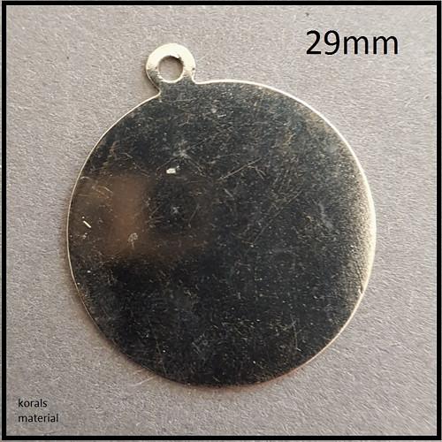 2127 kovový výřez KRUH 29 mm /b.platinová