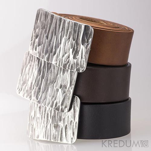 Kovaná nerez spona kožený pásek 4cm- Mistr 4X