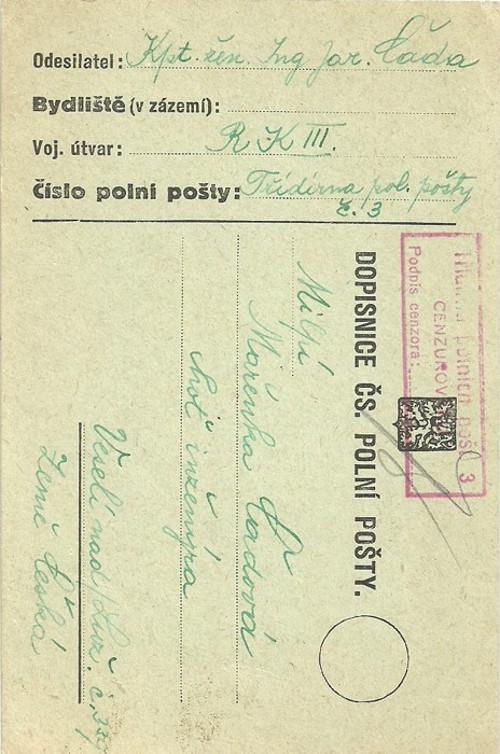 Dopisnice Polní pošta Veselí nad Lužnicí