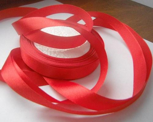 stuha atlasová 12mm- červená