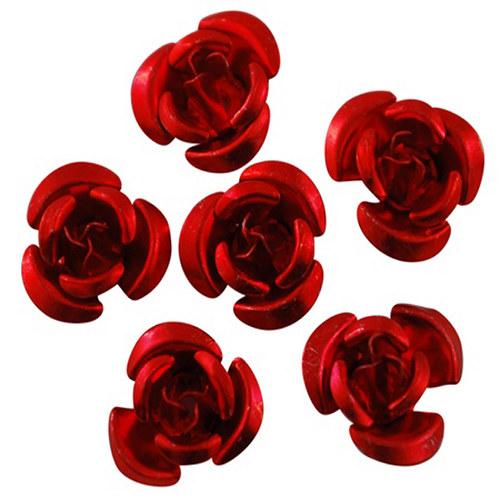 kovový korálek růže/ červená/ 12mm/ 10ks