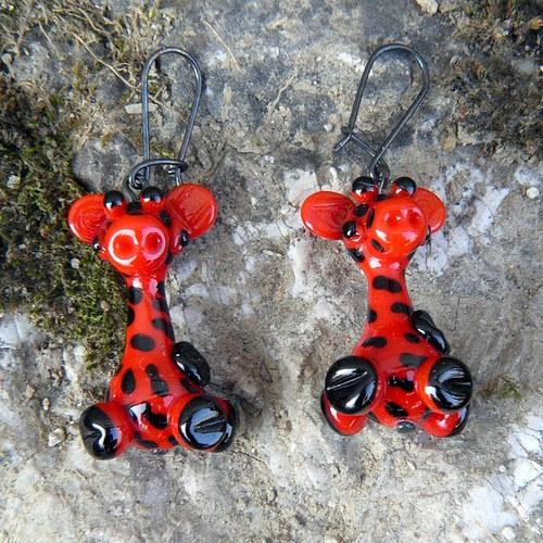 Náušnice červené žirafy - (asi zamilované)