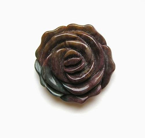 Achát, vyřezávaný květ, 38 mm