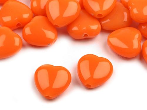 Plastové korálky 13x13mm srdce / oranžové (10 ks)