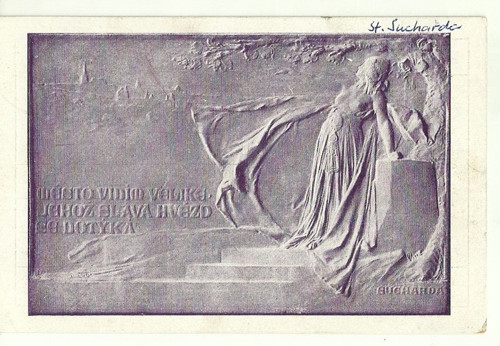 Umělecká pohlednice relief St.Sucharda Libuše