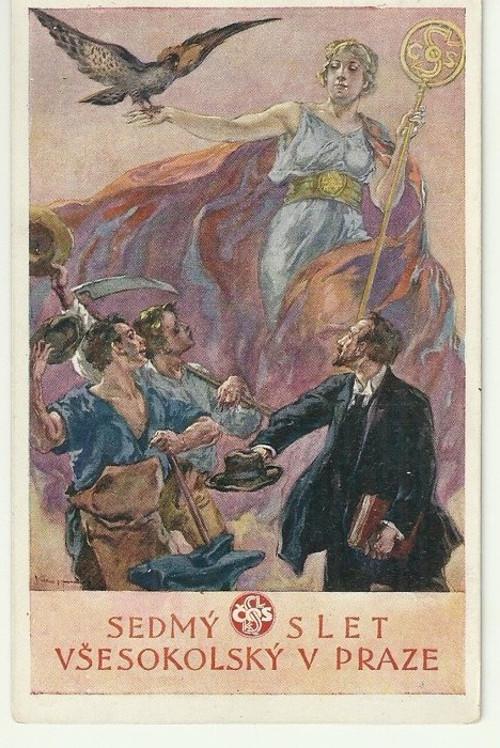 Pohlednice se Sokolskou tématikou r.1920