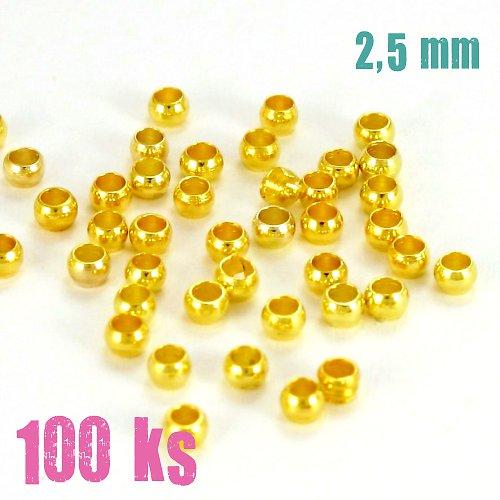Zamačkávací rokajl zlatý 2,5 mm 50 ks