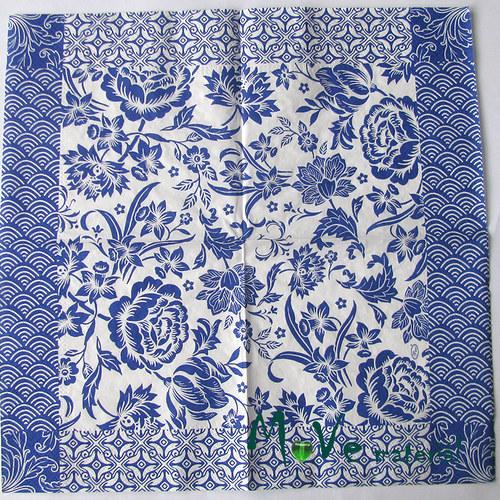 Ubrousek na decoupage 33 x 33cm 1ks, modré květy