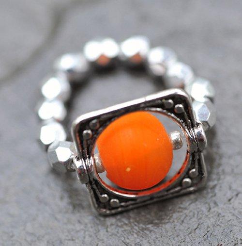 Prstýnek - oranžový korálek