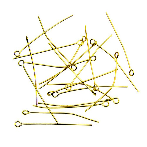 Zlaté ketlovací jehly 4 cm, 50 ks