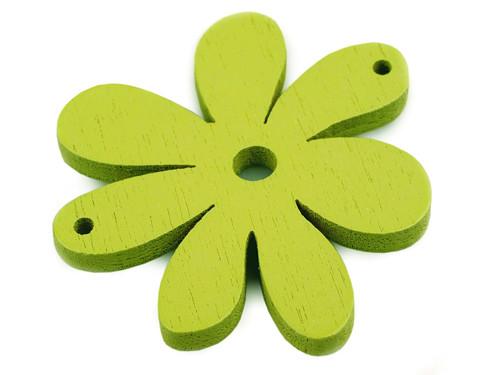 Dřevěný výsek 35x40mm květinka - zelené (2ks)
