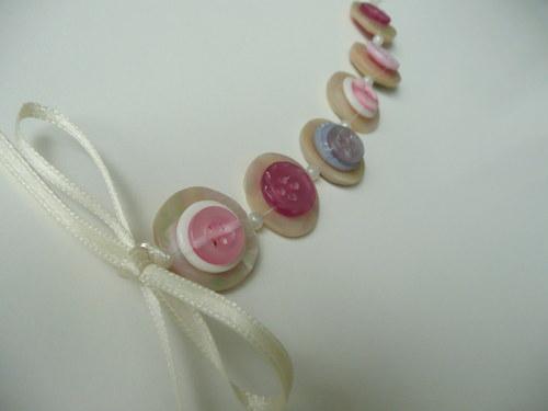 Náramek knoflíkový růžový