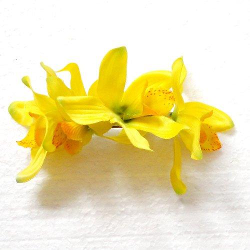 Květinová spona žlutá orchidej - SLEVA!!!