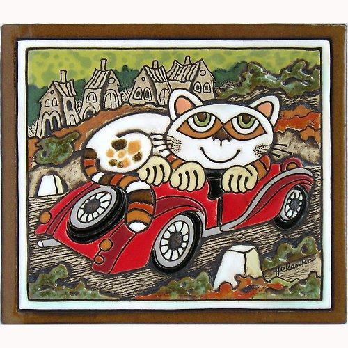 Keramický obrázek - Kočka a auto K-138-Z-CE