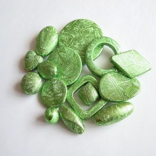 Stříkané korále - Mix zelený 10 ks/45,- Kč