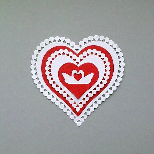 Výsek - Srdce (vrstvené) a labutě 5ks